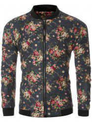 Flowers Print Bomber Collar Long Sleeve Jacket -