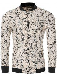 Ancient Letter Print Bomber Collar Long Sleeve Jacket - OFF WHITE 2XL