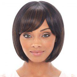 Trendy Face-Framing Bob Style Straight Brown Black Mixed Synthetic Wig For Women -
