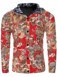 Ethnic Flower Print Hooded Floral Lining Design Long Sleeve Shirt For Men - RED