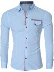 Plaid Spliced Long Sleeve Slim-Fit Formal Shirt - LIGHT BLUE
