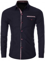 Plaid Spliced Long Sleeve Slim-Fit Formal Shirt
