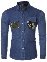 Fashion Turn-Down Collar Camo Pockets Design Long Sleeve Denim Shirt For Men