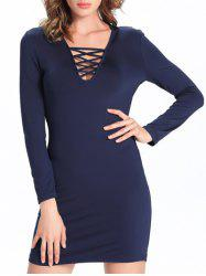 Trendy Criss Cross Pure Color Slimming Women's Dress - PURPLISH BLUE