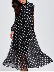 Long Sleeve Polka Dot Chiffon Sheer Maxi Dress