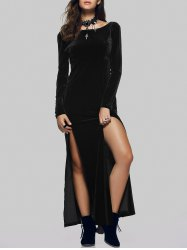 Maxi Velvet Slit Long Sleeve Party Dress
