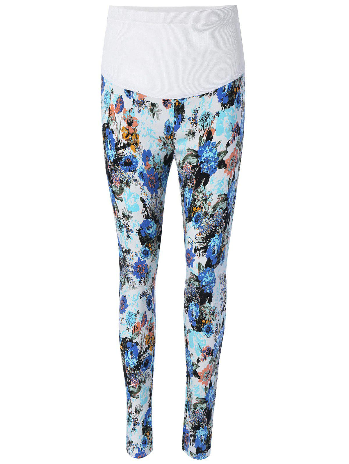 Leggings imprimé floral Bleu 2XL