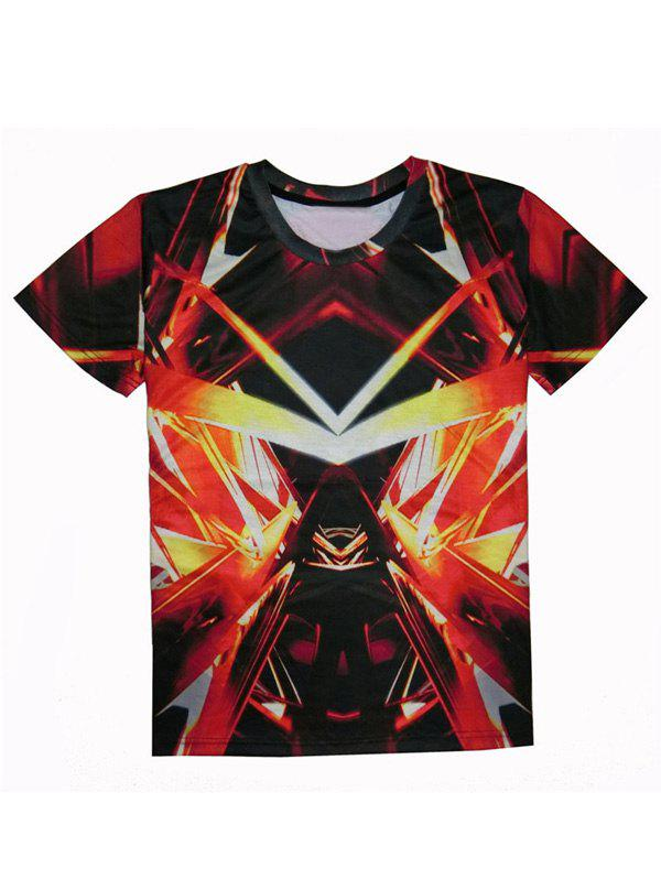Outfits Round Neck Short Sleeve Abstract 3D Print T-Shirt For Men
