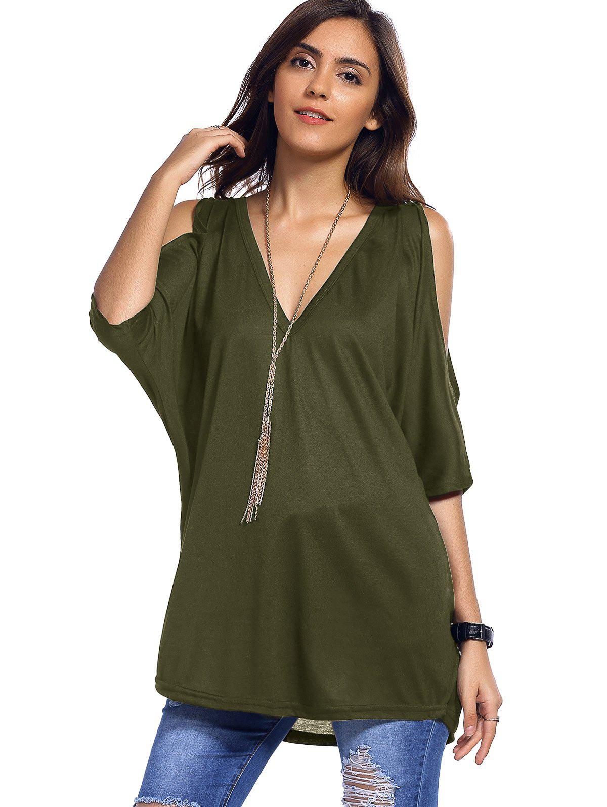 Army green m cold shoulder asymmetrical low cut v neck tee for Low neck t shirts women s