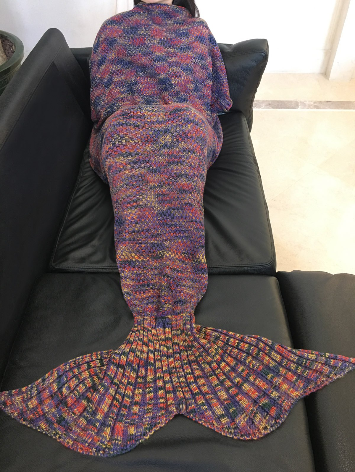 Cheap Fashion Colorful Printed Warmth Wool Knitted Mermaid Tail Design Blanket