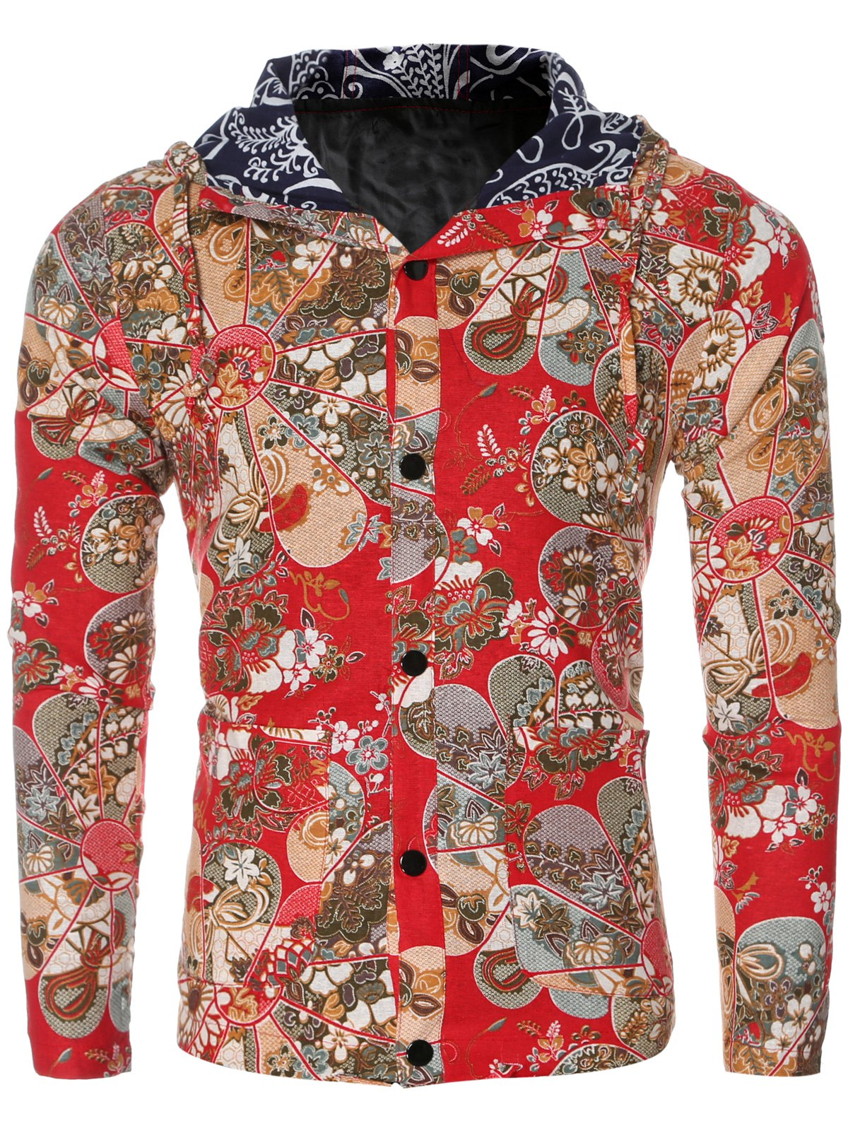 Trendy Ethnic Flower Print Hooded Floral Lining Design Long Sleeve Shirt For Men