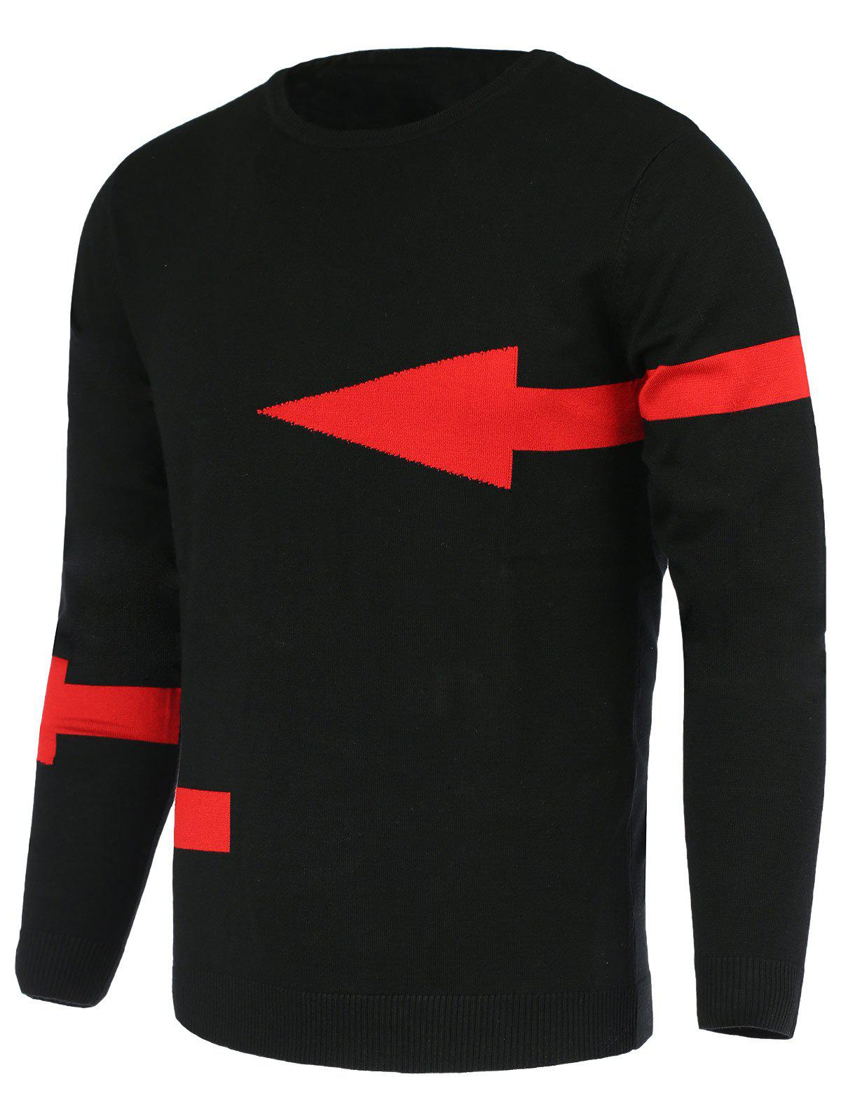 Cheap Solid Color Arrows Pattern Slimming Round Neck Long Sleeves Sweater For Men