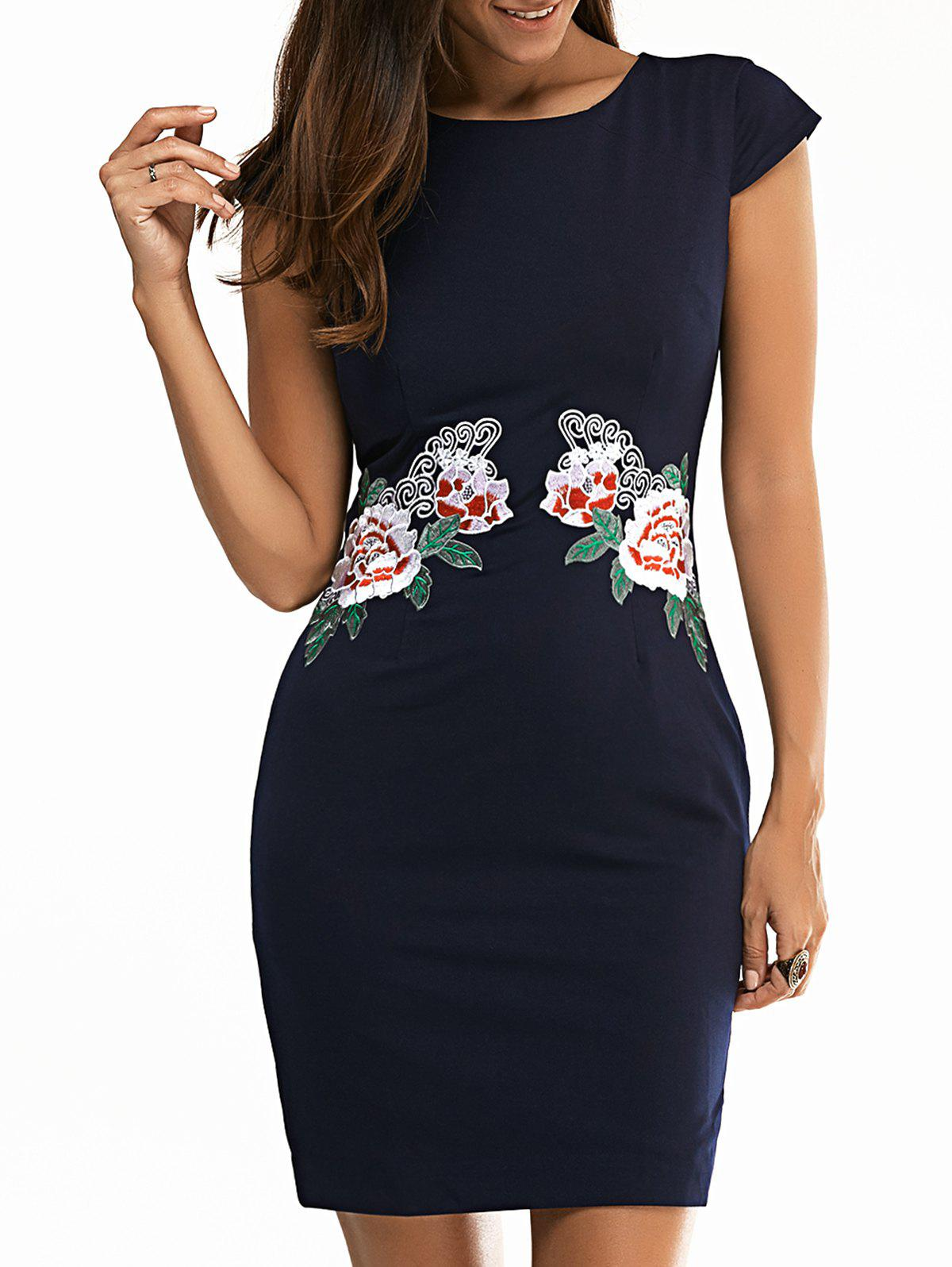 Trendy Jewel Neck Floral Embroidered Bodycon Dress