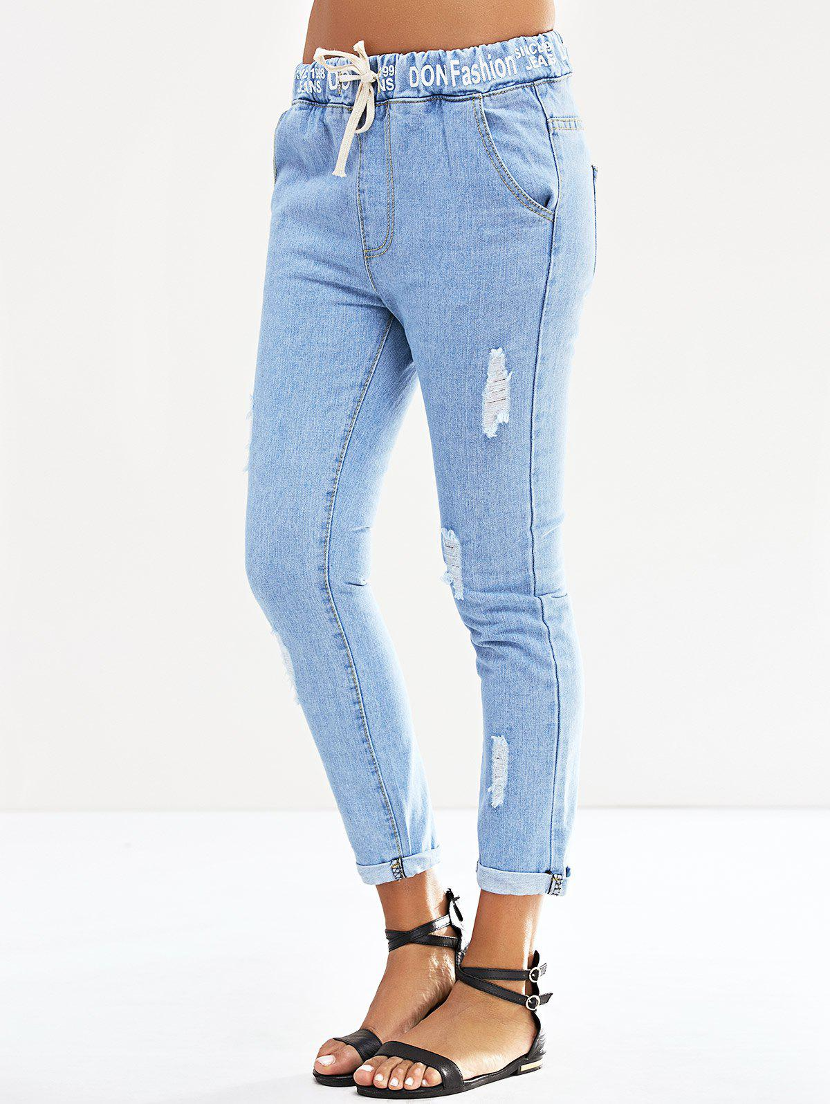 Fancy Elastic Waist Letter Print Ripped Jeans