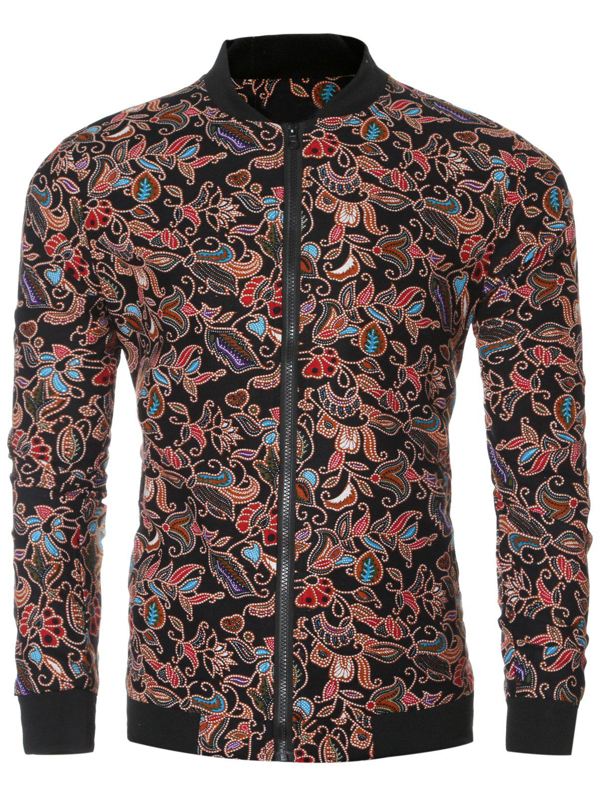 Rib Splicing Floral Jacket 190299205