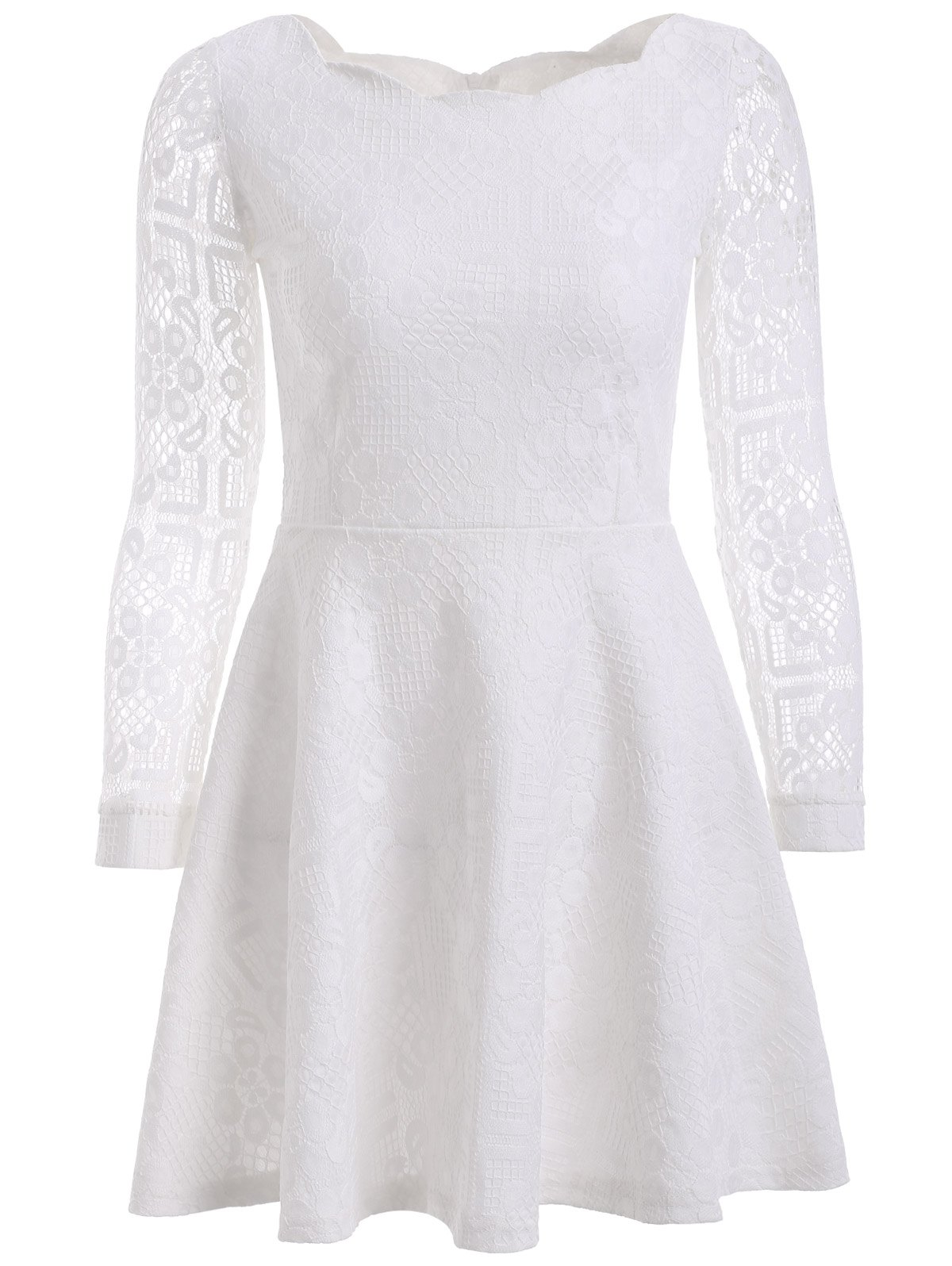Affordable Floral Embroidered Lace Casual Wedding Dress