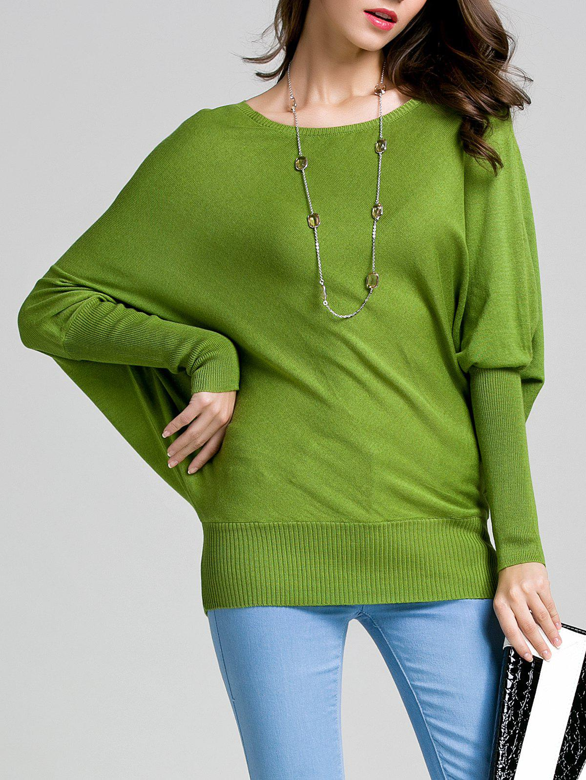 Cheap Round Neck Bat Sleeve Solid Color Sweater
