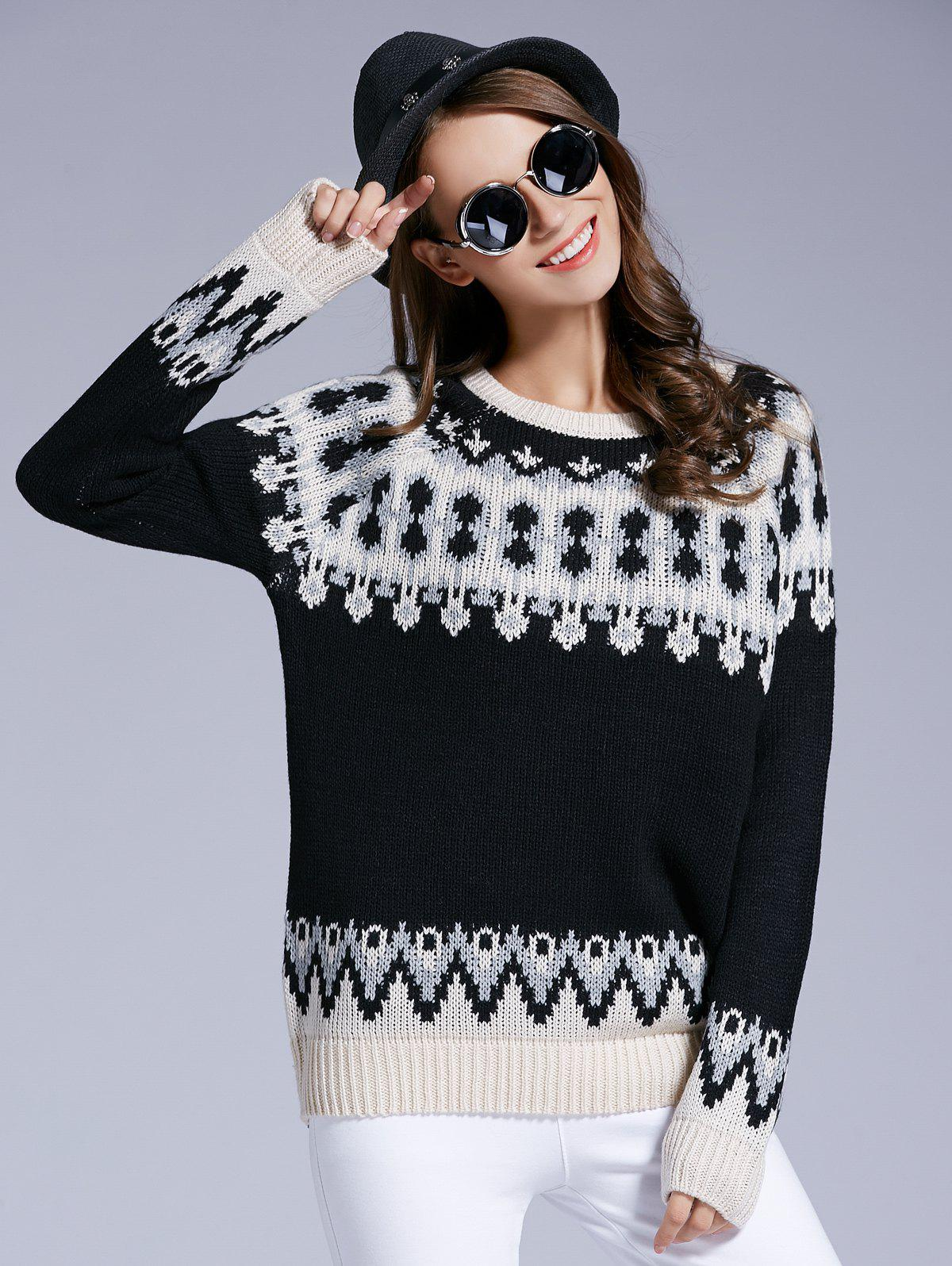 Unique Long Sleeve Round Neck Patterned Sweater