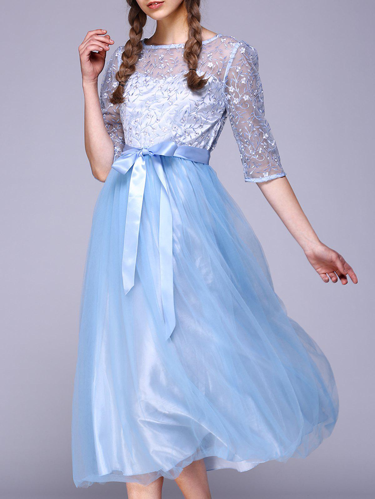 Shops See Through Lace Insert Embroidery Bridesmaid Dress