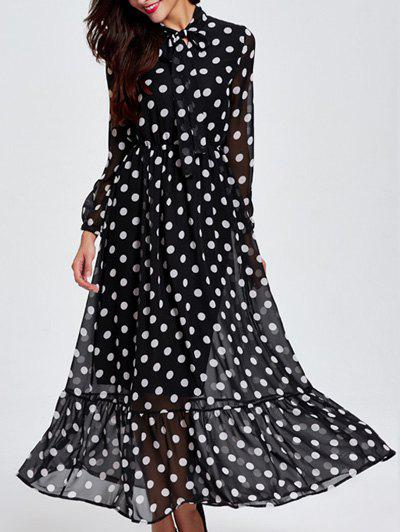 Shop Long Sleeve Polka Dot Chiffon Sheer Maxi Dress