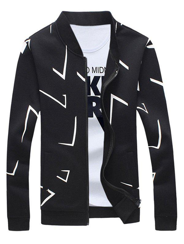 Rib Splicing Imprimer Zip Up Sweatshirt For Men Noir 5XL