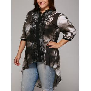 Plus Size Lace Spliced High Low Blouse - Colormix - Xl