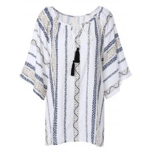Gauzy Printed Tassel Blouse For Women - White - Xl