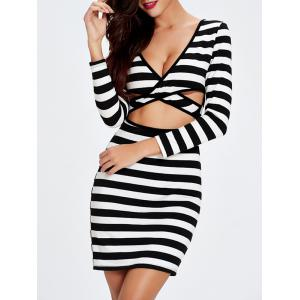 Striped Double-Wear Cut Out Bandage Long Sleeve Dress