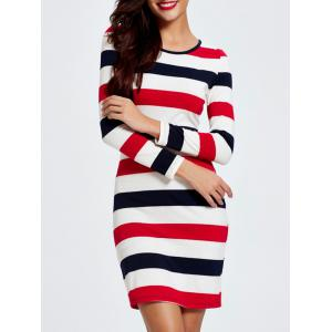 Trendy Color Block Striped Skinny Slimming Women's Dress