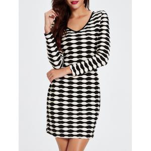 V-Neck Long Sleeved Abstract Striped Slimming Dress - Black - M