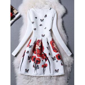Charming Butterfly Pattern Zippered Dress