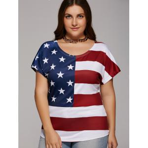 Plus Size Scoop Neck American Flag T-Shirt - Red And White And Blue - 4xl