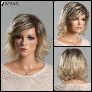 Women's Fashion Short Fluffy Mixed Color Tail Upwards Side Bang Siv Human Hair Wig
