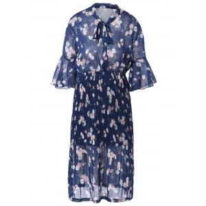 Vintage Short Sleeve Floral Print Pleated Dress - Blue - One Size