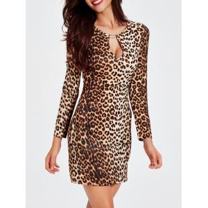 Charming Long Sleeve Leopard Print Mini Cut Out Women's Dress