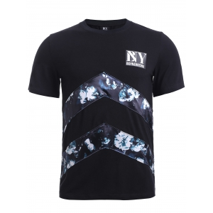 BoyNewYork Floral Applique Spliced T-Shirt