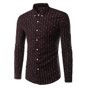 Geometric Vertical Stripe Turn-Down Collar Long Sleeve Button-Down Shirt For Men