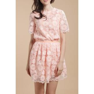 Flower Embroidered See-Through Blouse - Orangepink - S