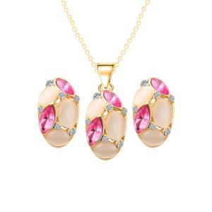 Chic Faux Opal Oval Necklace Earrings - Rose