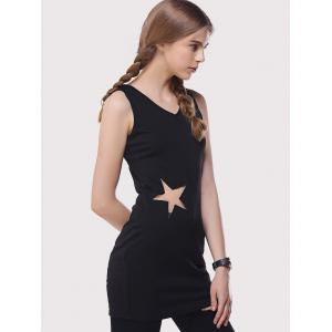 Star Mesh Inset Long Tank Top - BLACK L