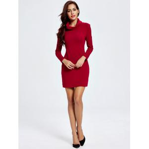Chic Cowl Neck Pure Color Slimming Women's Dress - DEEP RED 2XL