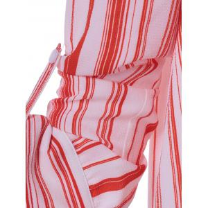 Fashionable High Low Striped Knot Front Shirt - STRIPE XL