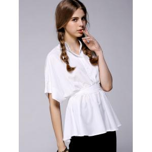 Single Breasted Tie Back White Blouse -