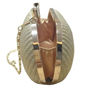 Fashionable Bow and Wrinkle Design Evening Bag For Women - GOLDEN
