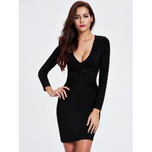 Charming Plunging Neck Cut Out Skinny Slimming Women's Dress -