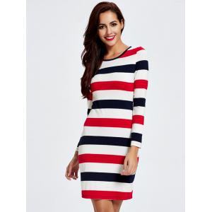 Trendy Color Block Striped Skinny Slimming Women's Dress -