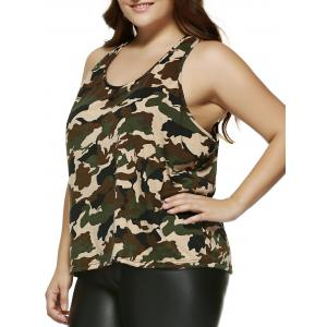 Plus Size Camo Printing Racerback Tank Top - CAMOUFLAGE 4XL
