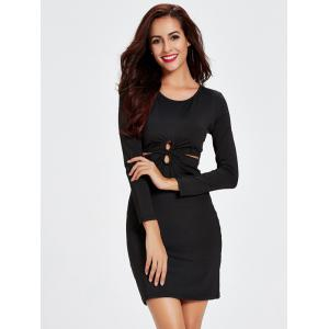 Long Sleeve Twisted Cut Out Bodycon Dress -