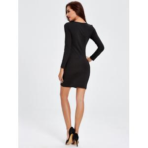 Long Sleeve Twisted Cut Out Bodycon Dress - BLACK 2XL