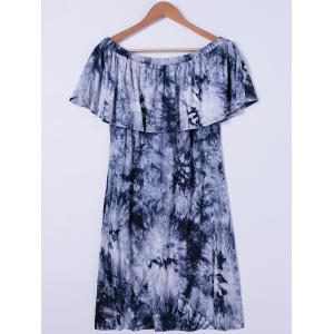 Tie Dye Off The Shoulder Casual Dress - WHITE AND BLACK L